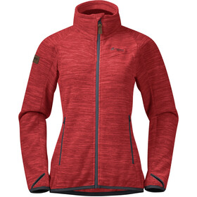 Bergans Hareid NoHood Fleece Jacket Women red melange/solid dark grey
